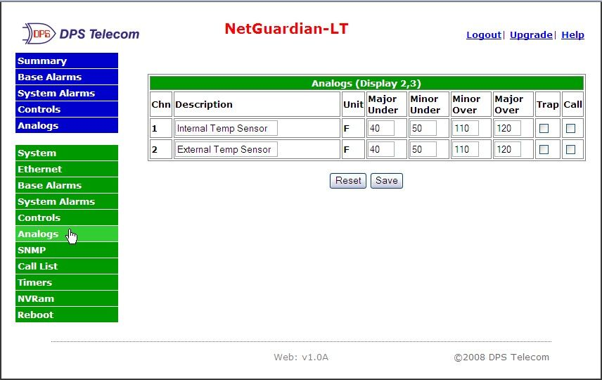 NetGuardian LT Alarm Interface