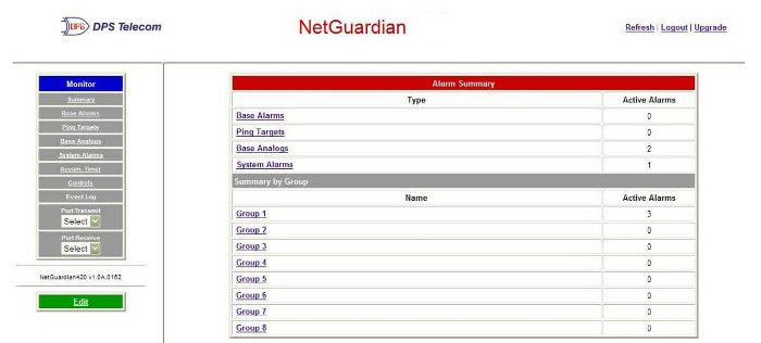 NetGuardian 240T Web Interface